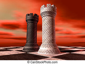 A black and a white castle chess piece made of brick and mortar opposing each other on a chess board against a red cloudy sky
