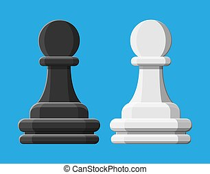 Black and white chess pawn piece