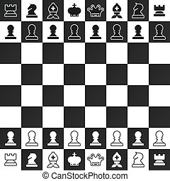 Black and White Chess Pieces on Chessboard Vector Design....