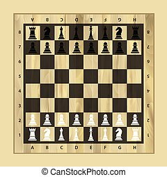 Black and white chess wooden board with chess pieces. Chess pieces in flat style. Vector illustration