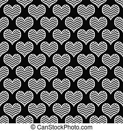 Black and White Chevron Hearts Pattern Repeat Background...