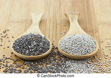 black and white chia seeds on wooden spoon