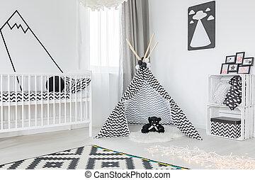 Black and white child room