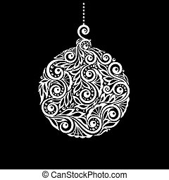 Black and White Christmas ball with a floral swirl flourishes