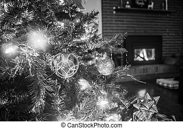Christmas Baubles on Christmas Tree with lights