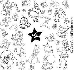 black and white christmas set