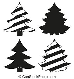 Black and white christmas tree silhouette set.
