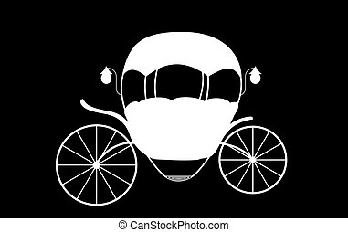 Black and White Cinderella Fairytale carriage. Vector Illustration.