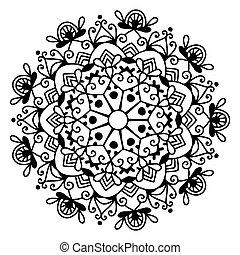 black and white circle lace pattern, christmas design snowflake