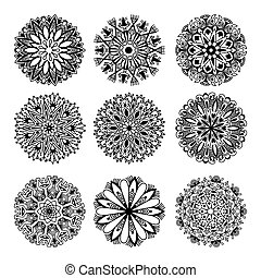black and white circle lace pattern collection, christmas design
