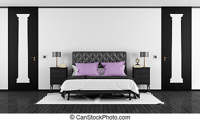 Black and white classic bedroom