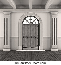 Black and white classic home entrance
