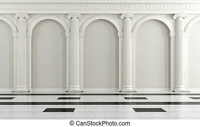 Black and white classic interior with ionic column -...