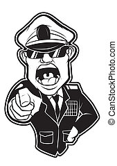 black and white clipart Angry Millitary General