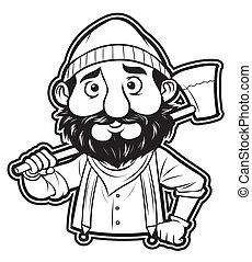 black and white clipart lumberjack