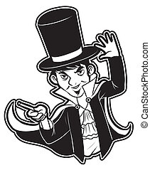 black and white clipart Magician