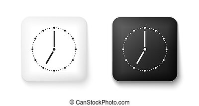 Black and white Clock icon isolated on white background. Time symbol. Square button. Vector