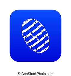 Black and white clothes button icon blue