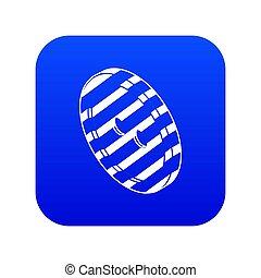 Black and white clothes button icon blue