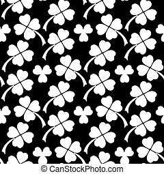 Black and white clover leaves seamless pattern - Clover...