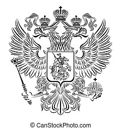 Black and white coat of arms of the Russian Federation