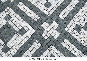Black and white cobblestone ornamental background texture