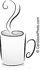 Black and White Coffee Cup - Black and White Illustration of...
