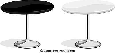 Black and white coffee shop table - Vector illustration of ...