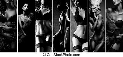 Black and white collage. Sexy women posing in beautiful...