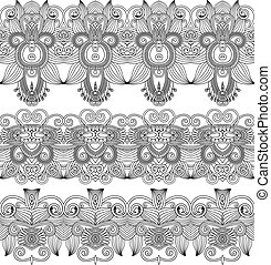 black and white collection of seamless ornamental floral ...