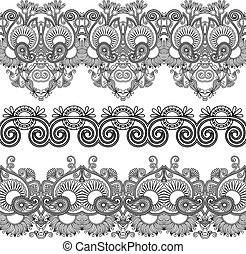 black and white collection of seamless ornamental floral...