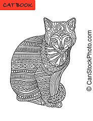 Black and white coloring book for adults. Colorized cat with patterns