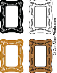 picture frames - black and white, coloured and outlined ...