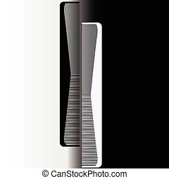 Black and white comb on a gray background