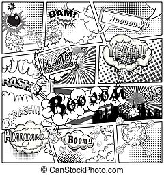 Black and white comic book page divided by lines with speech bubbles and sounds effect. Vector illustration.