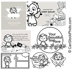 Black and White Comic Office Guy with Templates - Set of Concepts Vector illustrations