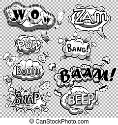 Black and white comic speech bubbles on transparent background vector