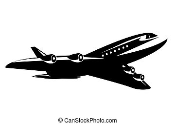 Black and White Commercial Jet