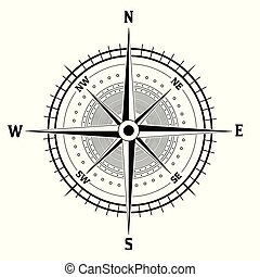 Black and white compass icon on white background. Rose of ...
