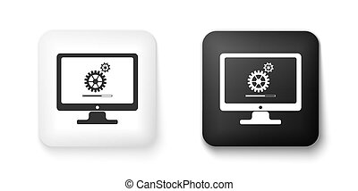 Black and white Computer monitor update process with gear progress and loading bar icon isolated on white background. Adjusting, setting, maintenance, repair. Square button. Vector