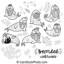 Black and white contour hipster walruses with beards and tattoos in cartoon style. Vector illustration