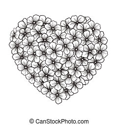 Black-and-white contour of flowers in the form of heart