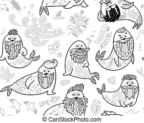 Black and white contour seamless pattern with hipster walruses with beards and tattoos in cartoon style.