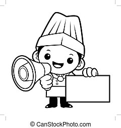Black And White Cook Mascot is speakn over a loudspeaker. Vector illustration isolated on white background.