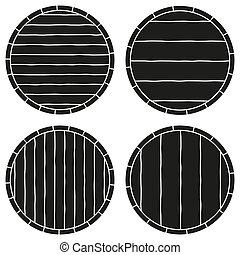 Black and white copyspace on barrel silhouette set