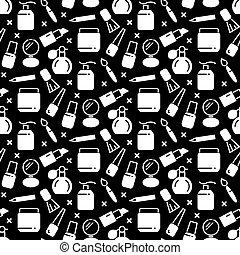 Black and white cosmetics seamless pattern