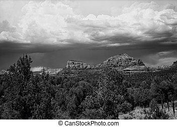 Sedona Arizona - Black and white country mountains ...
