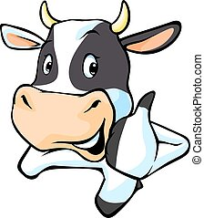 black and white cow cartoon illustration with thumb up.eps -...