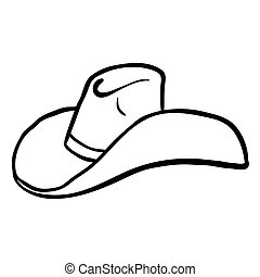 black and white cowboy hat cartoon