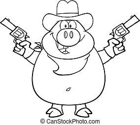 Black And White Cowboy Pig Cartoon Character Holding Up Two...